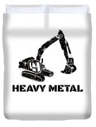 Heavy Metal Digger Funny Cute Backhoe Bulldozer Black Duvet Cover