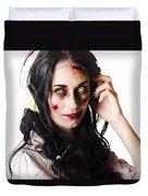 Heavy Metal Zombie Woman Wearing Headphones Duvet Cover