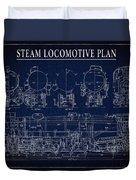 Heavy Steam Locomotive Blueprint Duvet Cover