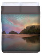 Heceta Head Lighthouse Foggy Sunset Duvet Cover