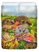 Hedgehogs Inside Scarf Duvet Cover