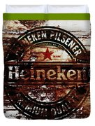 Heineken Beer Wood Sign 1j Duvet Cover