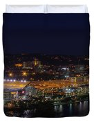 Heinz Field At Night From Mt Washington Duvet Cover