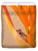 Heliconia And Frog Duvet Cover
