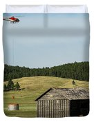 Helicopter Dips Water At Heliwell Duvet Cover by Bill Gabbert