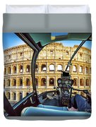 Helicopter On Colosseo Duvet Cover