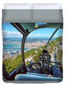 Helicopter On Gibraltar Rock Duvet Cover
