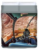 Helicopter On Monastery Of St Catherine Duvet Cover
