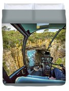 Helicopter On Tasman Arch Duvet Cover