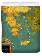 Hellenic Peninsula Greece, Albania, Bosnia And Bulgaria Duvet Cover