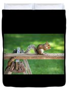 Hello Are You Gonna Eat All That? Chipmunk And Squirrel Duvet Cover