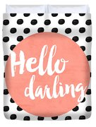 Hello Darling Coral And Dots Duvet Cover