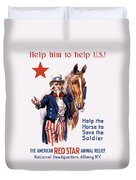 Help The Horse To Save The Soldier Duvet Cover