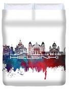 Helsinki Skyline City Blue Duvet Cover