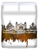 Helsinki Skyline City Brown Duvet Cover