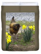 Hen And Daffodils Duvet Cover