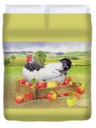 Hen In A Box Of Apples Duvet Cover by EB Watts