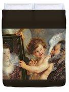 Henri Iv Receiving The Portrait Of Marie De Medici Duvet Cover by Rubens