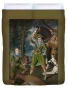 Henry Frederick 15941612 Prince Of Wales With Sir John Harington 15921614 In The Hunting Field Duvet Cover