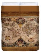 Henry Hondius Seventeenth Century World Map Duvet Cover by Skye Ryan-Evans
