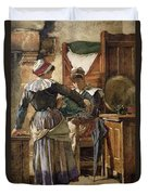 Her First Born Duvet Cover by Walter Langley