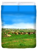Herd Of Cows Under A Blue Sky In Green Hills Duvet Cover