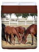 Herd Of Horses Ranch Scene Duvet Cover