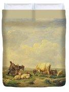 Herdsman And Herd Duvet Cover