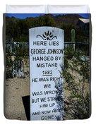 Here Lies George Johnson - Old Tucson Arizona Duvet Cover