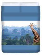 Here's Looking At You Kid.  Giraffe In Kenya Africa Duvet Cover