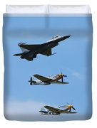 Heritage Flight, P-51 Mustang And F-16 Fighting Falcon Duvet Cover
