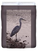 Heron And Grey Water Duvet Cover
