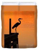 Heron At Sunset Duvet Cover