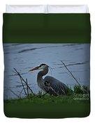 Heron At The Rock River Duvet Cover