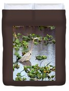 Heron Fishing In The Everglades Duvet Cover