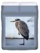 Heron On Ice Duvet Cover