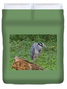 Heron On Log Duvet Cover