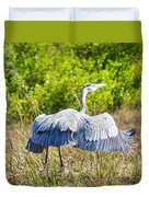 Heron On The Rise Duvet Cover