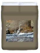 Heron The Rock Duvet Cover