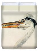Heron With A Fish Duvet Cover