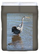 Heron With Gator Duvet Cover