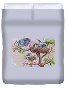 Herons At Nests Duvet Cover