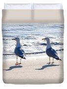 Herring Gulls On The Beach Duvet Cover