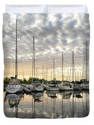 Herringbone Sky Patterns With Yachts And Boats  Duvet Cover