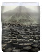Hexagon Stones And A Mountain In The Morning Fog Duvet Cover