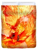 Hibiscus And Bees Duvet Cover