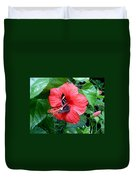 Hibiscus And Butterfly Diners Duvet Cover