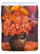 Hibiscus And Cannas In Balinese Jug Duvet Cover