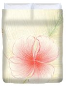 Hibiscus On Palm  Duvet Cover