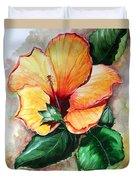 Hibiscus  Sunny Duvet Cover